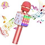 ShinePick Micrófono Karaoke Bluetooth, 4 en1 Microfono Inalámbrico Karaoke...