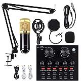 Kit de micrófono de condensador V8 con tarjeta de sonido en vivo BM-800, brazo de...
